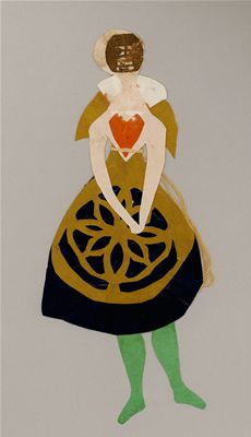 Lady in black skirt with yellow pattern, green stockings, a red heart. Mask or visor. Christmas tree decoration. Hans Christian Andersen Drawings, Odense City Museums