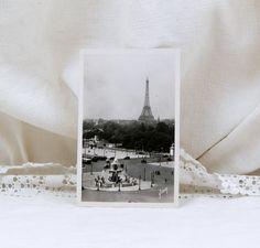 Vintage Mid Century French Black and White Postcard, Eiffel Tower and Place de la Concorde Paris, Parisian, Retro Vintage Home, Souvenir, by VintageDecorFrancais on Etsy
