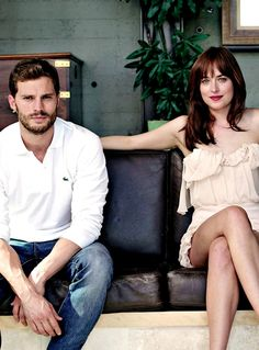 Love the casual way Jamie Dornan and Dakota Johnson are sitting. Love both the looks they have on their face!! Sexy!! 50 Shades of Christian and Ana