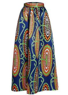 Printed Navy Blue High Waist Maxi Skirt  on sale only US$33.55 now, buy cheap Printed Navy Blue High Waist Maxi Skirt  at liligal.com
