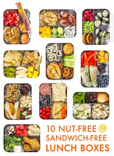 10 nut free sandwich free lunches. Take your lunch to work and pack something you'll look forward to eating. Great ideas for packing school lunches too! Healthy meal prep choices with lots of variety. Great way to save money and tips to stick to a budget too!