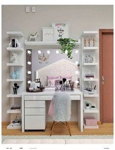 great teenage girl room decor from dressing table to cute bedroom be the prettiest ! « Dreamsscape great teenage girl room decor from dressing table to cute bedroom be the prettiest ! Makeup Room Decor, Makeup Rooms, Make Up Tisch, Teenage Girl Room Decor, Teenage Girl Bedrooms, Girls Room Desk, Girls Bedroom Storage, Bedroom Girls, Girl Rooms