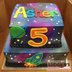Square 2 tier birthday cake airbrushed to look like outer space with astronaut theme space ship and saturn icing drawings
