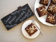Sweet Potato Chocolate Brownies Recipe Desserts with sweet potatoes, medjool date, avocado, maple syrup, vanilla bean paste, raw cacao powder, almond meal, baking soda, salt, sweet potatoes, avocado, milk, vanilla bean paste, maple syrup, raw cacao powder, sliced almonds, raw cacao powder