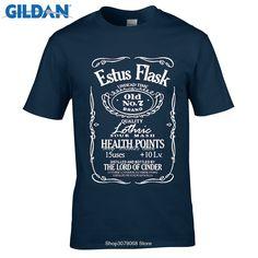 GILDAN Tshirt Dark Souls Estus Flask T Shirt Game  Knight Weapons Drink camiseta camisa Casuals Short Sleeve RAY sun t-Shirt #Affiliate