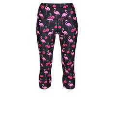 Hot Pink And Funky, Tikiboo's Moai Tiki Capris Have Landed! With A Pretty Flamingo And Cheeky Cherry Design On A Dark Base, These Length Pants Fit Comfortably Around The Calf And High On The Waist. Workout Pants, Sunny Days, Squats, Flamingo, Sunnies, Recovery, Calves, Benefit, Hot Pink