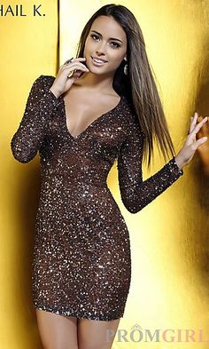 Short Sequin V-Neck Dress with Long Sleeves at PromGirl.com