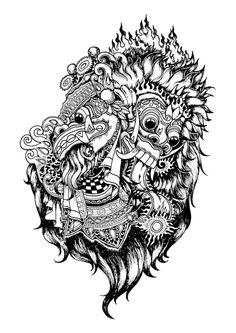 Barong (Balinese) is the mother of good spirits and guardian to the people of Bali. Cat Tattoo, Tattoo Drawings, Cool Drawings, Barong Bali, Le Kraken, Balinese Tattoo, Dibujos Tattoo, Kunst Tattoos, Mask Drawing
