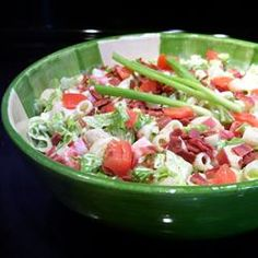 BLT Pasta Salad!!! *I made mine with a whole bottle of Bacon-Ranch Dressing; Real Bacon bits mixed in (in addition to the real bacon on top); Mayo; + Red Onion [pre-chopped from the grocery store to make it even easier!].