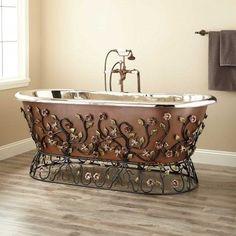 "71"" Flora Smooth Copper Freestanding Tub - Nickel Interior"