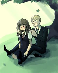 Hermione Granger and Draco Malfoy under a tree by Solitude6.deviantart.com on @DeviantArt