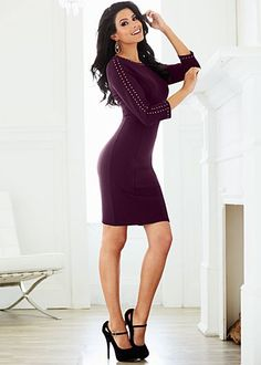 """venus.com/ Burgundy (BU) Studded Sheath Dress Adding edgy studs to a classic sheath dress will make you even more irresistible. ·  Exposed back gold zipper   ·  3/4 length sleeves   ·  21"""" in length from natural waist   ·  Poly/rayon/spandex   ·  Imported  · Style #Y38505 Orig. $42 SALE $27"""