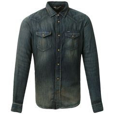 Diesel Camisa jeans Diesel (350 CAD) ❤ liked on Polyvore featuring jeans and men