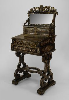 English Victorian black lacquered & decorated pearl inlaid papier mache ladies' bureau/work table with filigree pediment and hidden gaming board (circa 1860) (3 sections)