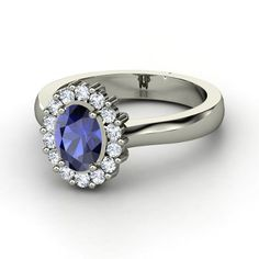 Oval Sapphire 14K White Gold Ring with Diamond | Princess Kate Ring | Gemvara