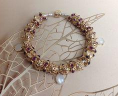 Pandora Rhodolite Bracelete, so in love with the older beads Pandora bracelet by…