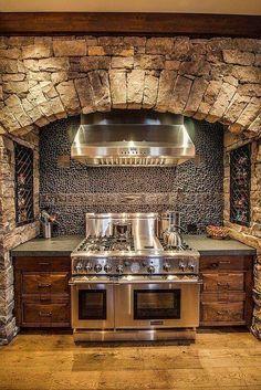 primitive kitchens,rustic kitchen decor,log home kitchens,log cabin kitchens,primitive log home cooking pits 00349 Küchen Design, Design Case, Design Ideas, Loft Design, Rustic Kitchen Design, Kitchen Decor, Kitchen Ideas, Nice Kitchen, Rustic Bathroom Designs