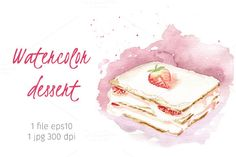 Watercolor cake by Mariart_i on @creativemarket