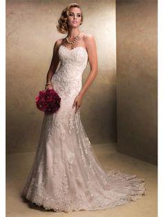 Slida/Kolumn rmlös Hjärtformad Lace Court Släp Wedding Dresses