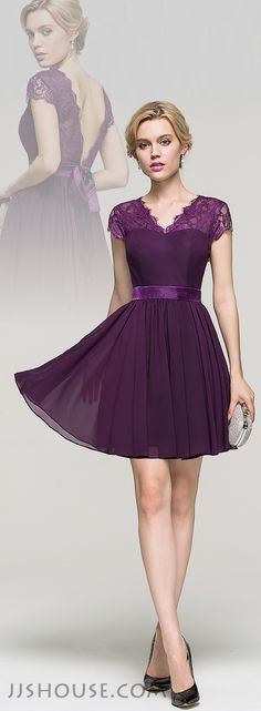 A-Line/Princess V-neck Short/Mini Chiffon Homecoming Dress With Bow. #JJsHouse