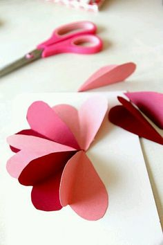 Flower By Hearts Card Tutorial - DIY Flower Heart Card Tutorial for Valentines Day, Easy craft!DIY Flower Heart Card Tutorial for Valentines Day, Easy craft! Mothers Day Crafts, Valentine Day Crafts, Holiday Crafts, Valentines Origami, Handmade Valentine Gifts, Valentines For Mom, Diy Valentines Cards, Valentine Party, Valentines Day Hearts
