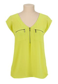 V-neck chiffon zip pocket blouse (original price, $29) available at #Maurices