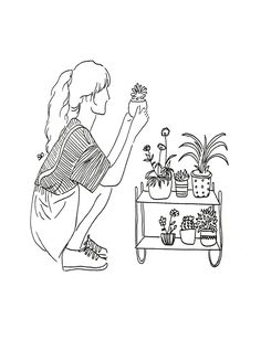 crazy plant girl Mini Art Print by poeticamente flor - Without Stand - x drawing simple Outline Art, Outline Drawings, Doodle Drawings, Doodle Art, Crazy Drawings, Minimalist Drawing, Minimalist Art, Illustration Art, Illustrations
