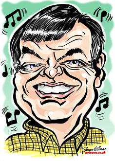 The first disc jockey to play a track on BBC Radio One was Tony Blackburn. The caricature of him is an 'Emailed in Colour' by London Caricaturist Simon