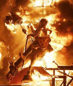 Las Fallas, Valencia, Spain. Passing of Winter in March. Fiery festival !