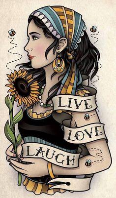 New Ideas For Tattoo Old School Traditionnel Flower Hair Tattoos, Flower Tattoos, Body Art Tattoos, New Tattoos, Cool Tattoos, Tatoos, Arabic Tattoos, Dragon Tattoos, Tattoo Girls