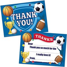 Sports Kids Fill In Thank You Cards  Football Basketball Baseball Soccer Theme 20 Count with Envelopes * Check out this great product.Note:It is affiliate link to Amazon.