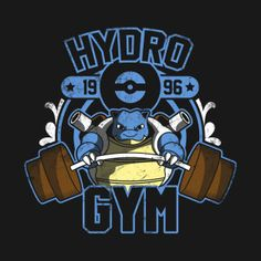 Shop Hydro Gym pokemon t-shirts designed by Soulkr as well as other pokemon merchandise at TeePublic. Pokemon Merchandise, Gym Logo, Retro Videos, 90s Cartoons, Dc Comics, Geek Art, Gym Shirts, Cute Pokemon, Edgy Memes
