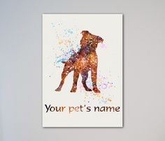"Staffordshire Bull Terrier Dog Personalized Pet Name Print. This is a personalized printed art poster. Personalization by clicking Select Options - Enter Your Pet's Name. Available Sizes by clicking Select Options - Select Size: from 5'' x 7'' up to 20"" x 30"". If you choose Canvas Upgrade option, then we will leave about 2 inches white canvas on every side for mounting on a frame. Express shipping is with UPS Express Saver Service. It takes from 2 to 3 business days to Europe and from 3 to…"