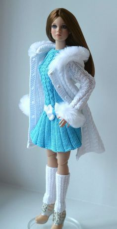 """This OOAK hand-knitted outfit is designed and made for Tonner Cami Antoinette Body 16"""" dolls. This outfit is made of a cotton yarn with faux fur. This outfit is from a non smoking, pet free home. 