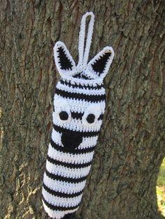 Crocheted Bag Holder Zebra Black and White by crochetedbycharlene, $21.00