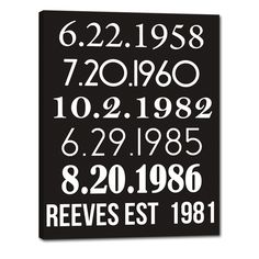 Dates you met - proposed - married - bought your first home - had your first baby. #family #decor  Geezees.com