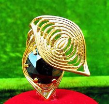 Elegant Gold tone filigree black faceted glass Artistic pendant charm  id