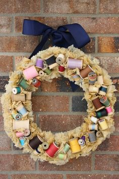 Sewing Notions Wreath - vintage spools and patterns by HiButterfly