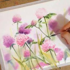 Watercolor Flowers Tutorial, Watercolor Drawing, Watercolor Cards, Watercolor Illustration, Floral Watercolor, Plant Drawing, Drawing Flowers, Watercolor Techniques, Flower Art