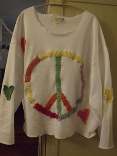 Peace Sign White Fleece Plus Size Shirt With Hearts by SheerFab