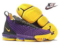 newest 9c2f5 76047 Les sports Chaussures De BasketBall Nike LeBron 16 Pas Cher Homme Jaune  noir bleu AO2588 I123-