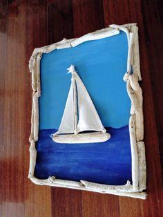Driftwood sailboat,sailing boat,driftwood wall art,wall decor,wall hanging,driftwood sculpture,beach decor coastal,nautical,wood art,lake,driftwood lamp,driftwood candle holder by DriftwoodAndPebbles on Etsy