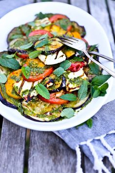 Feasting at Home- Seasonal Recipes: Grilled Halloumi Salad with Mint Dressing