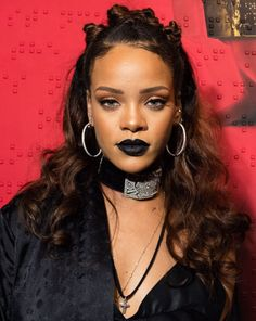 Rihanna Bantu Knots Half Up