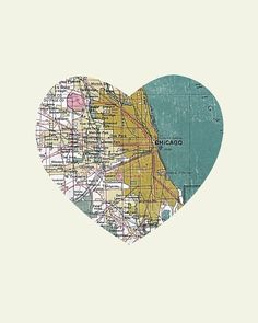 Chicago Art City Heart Map Wood Block Art Print