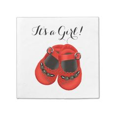 Sweet Red Baby Shoe Baby Shower Paper Napkins