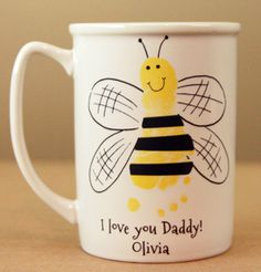 Bee Mug !Handprint and footprint art for baby and kids. Send us your prints and we do the rest! Great family gifts! www.myforeverprints.com