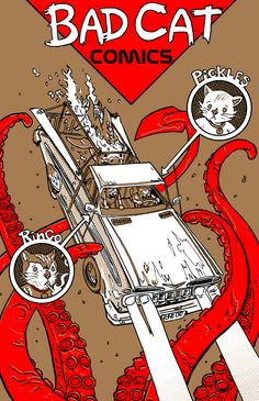 Bad Cat Comcs New Printing- by Doyle Cat Comics, Bad Cats, Comic Books Art, Abstract Expressionism, Childrens Books, Eye Candy, Have Fun, Illustration, Artist