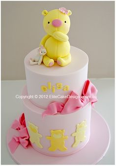 Yellow Teddy Baby Shower Cake, Baby Shower Cake Designs, Animal Baby Shower Cakes, Designer Specialty Cakes