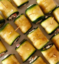 Rolls of Zucchini // Roladki z cukinii Zucchini, Grilling, Rolls, Food And Drink, Menu, Vegetarian, Favorite Recipes, Dishes, Baking